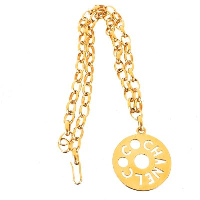 Vintage Chanel Giant Medallion Cut Out Charm Chain  Necklace