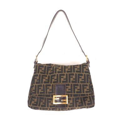 Vintage Fendi Zucca Monogram Pattern Mamma Baguette  Shoulder Bag