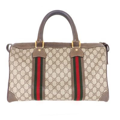 Vintage Gucci Large Double Line Speedy Monogram Hand Bag