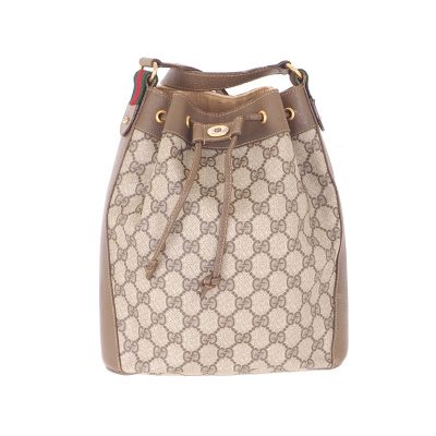 Vintage Gucci Monogram Drawstring Bucket Shoulder Bag