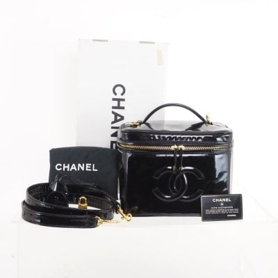 Vintage Chanel Full Set Vanity Strap Case Clochet Lock Hand Bag