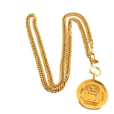 Vintage Chanel Cambon Pristine Medallion Long Chain  Necklace
