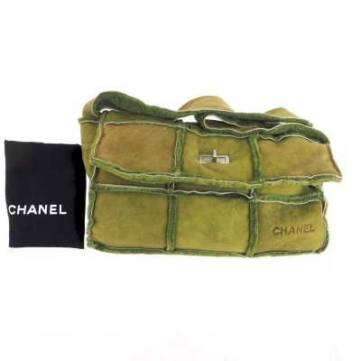 Vintage Chanel Matcha Green Mouton Turnlock Block  Shoulder Bag