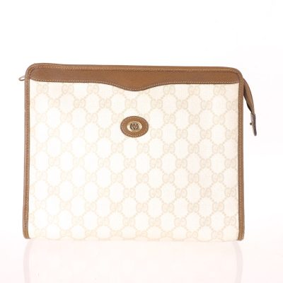 Vintage Gucci Ivory Beige Monogram  Clutch Bag