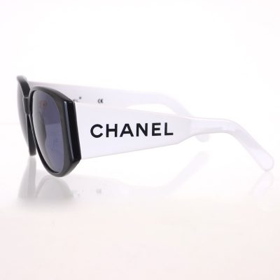 Vintage Chanel Bi Color Extra Wide Temple White Black Sunglasses