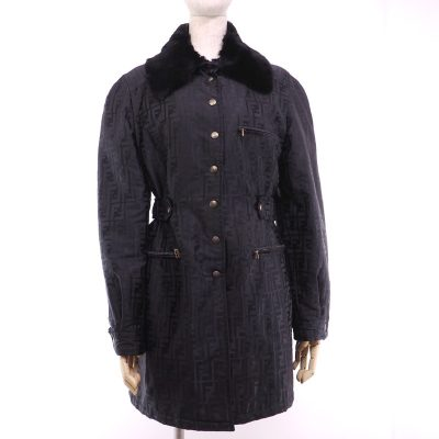 Vintage Fendi Zucca Monogram Mouton Collar 42 Jacket Coat Clothing