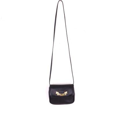 Vintage Moschino Mini Sized Black Leather Fanny Pack Shoulder Bag