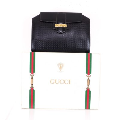 Vintage Gucci Pristine Extremely Rare GG Black  Clutch Bag