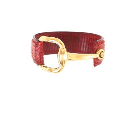 Vintage Gucci Horsebit Lizard Wide Hard Bangle Bracelet