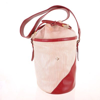 Vintage Gucci Red White Stripe Bucket Drawstring Shoulder Bag