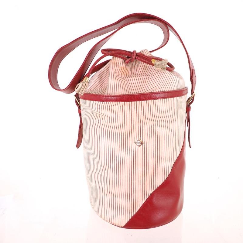 e3dce990237 Vintage Gucci Red White Stripe Bucket Drawstring Shoulder Bag ...