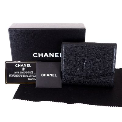 Vintage Chanel Black Caviar Double Sided Excellent Full Set Wallet