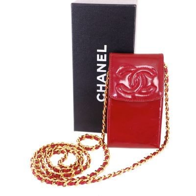 Vintage Chanel Lipstick Red Key Chain Pouch Case  Wallet