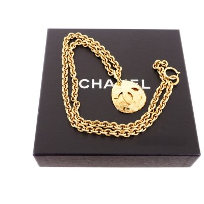 Vintage Chanel Excellent Condition Quilted Teardrop Long Chain  Necklace