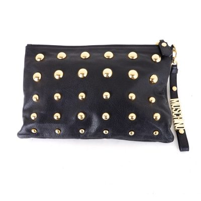 Vintage Moschino Studded Genuine Leather Large  Clutch Bag