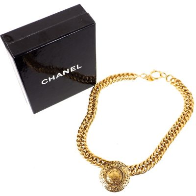 Vintage Chanel Medallion Coin Chain Choker Excellent  Necklace