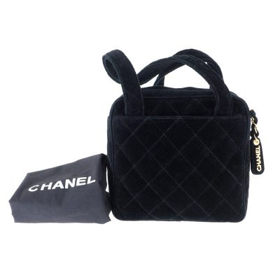 Vintage Chanel Velour Quilted Black Box Square  Hand Bag