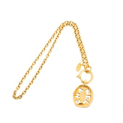 Vintage Chanel Cut Out Name Tag Oval Gold Chain  Necklace