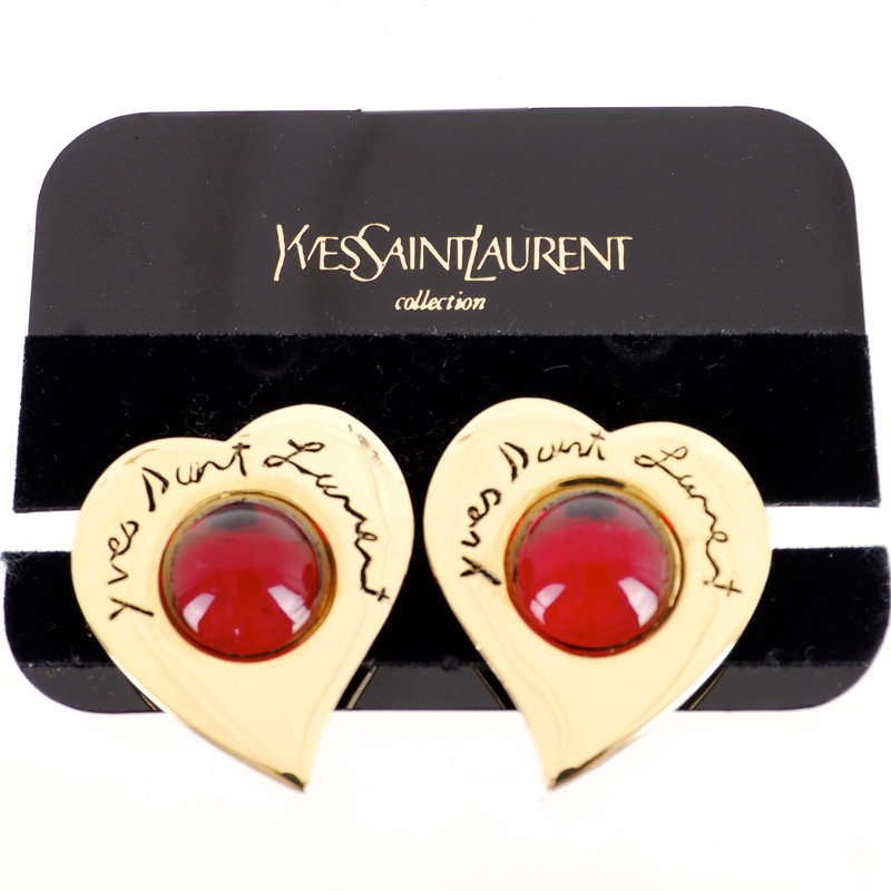 1ce55a57ece Vintage Yves Saint Laurent Heart Shaped Red Gripoix Glass YSL Earrings