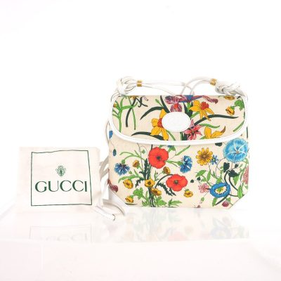 Vintage Gucci Multi Color Floral Bug Box Spaghetti Strap Shoulder Bag