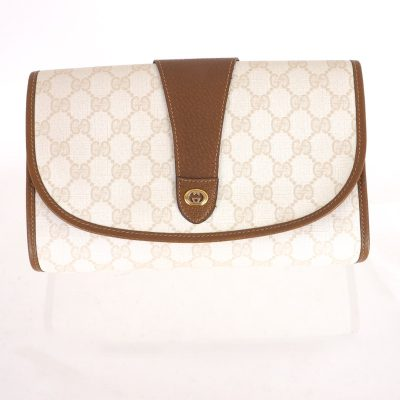 Vintage Gucci Excellent Ivory Beige Monogram M Size  Clutch Bag