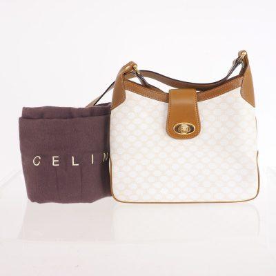 Vintage Celine Monogram Leather Ivory Beige Shoulder Bag