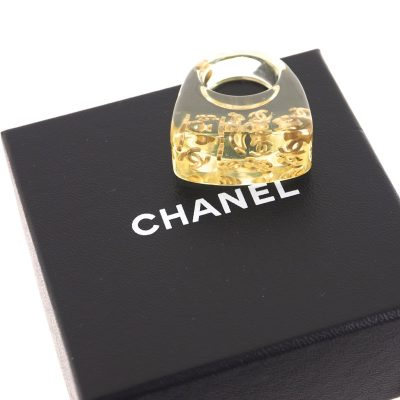 Vintage Chanel CC Gold Logo Acrylic Massive Chunky 2001P Ring