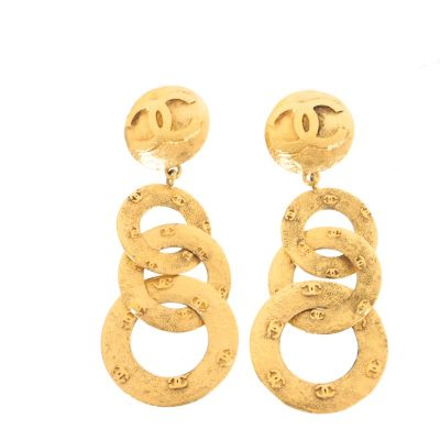 Vintage Chanel Three Ring Hoop Extra Large Gold Dangle Earrings