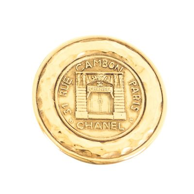 Vintage Chanel Rue Cambon Large Medallion Pin Excellent Brooch