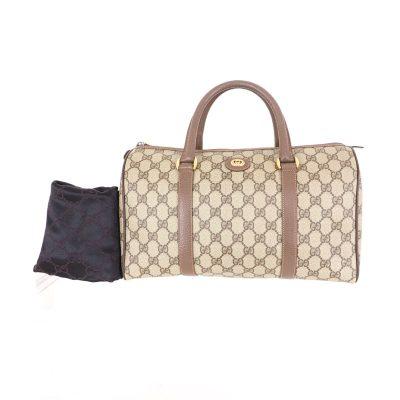 Vintage Gucci Excellent Condition GG Monogram Beige Large Speedy Hand Bag