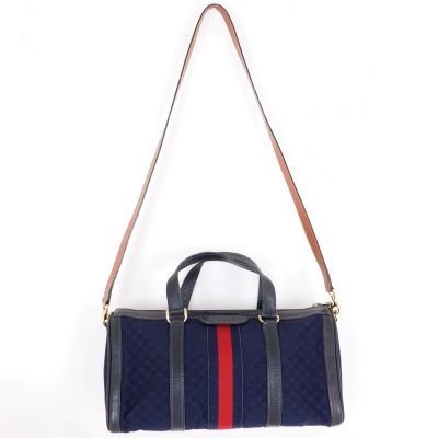 Vintage Gucci Canvas Micro GG Red Line Speedy Duffle Hand Bag