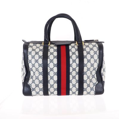 Vintage Gucci Monogram Blue Red GG Speedy Duffle Hand Bag
