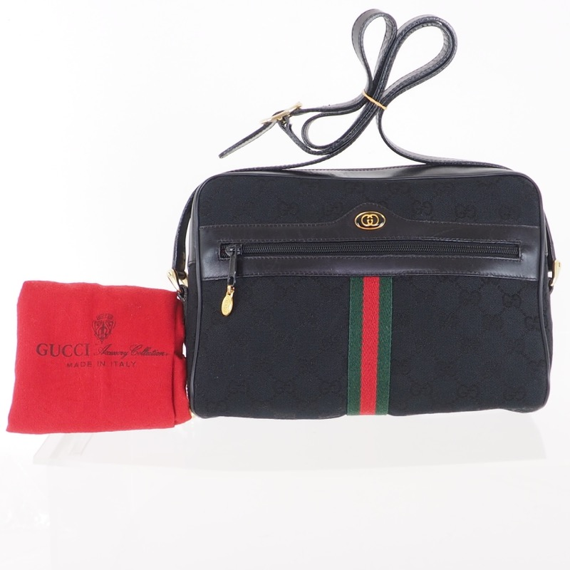 e0d2d4f61b5 Vintage Gucci Black Canvas Monogram Box Rare Shoulder Bag ...