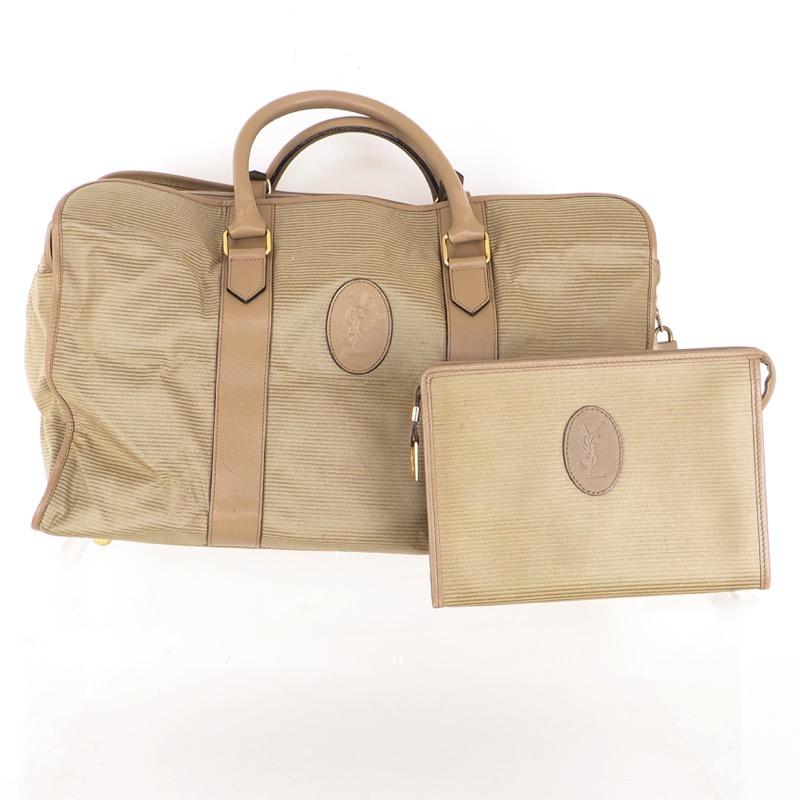 Vintage Yves Saint Laurent YSL Large Travel Bag Set Clutch Bag ... c9085beabf231