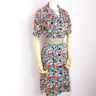 Vintage Fendi Floral Print Cotton Summer Dress Clothing