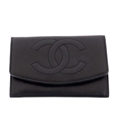 Vintage Chanel Envelope Clutch Logo Black Wallet