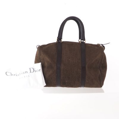 Vintage Christian Dior Monogram Emboss Brown Suede Speedy Hand Bag