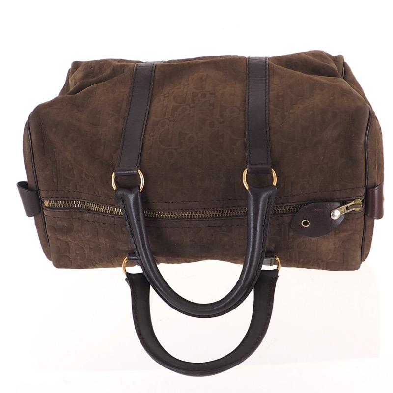 873b6ce8ec5a Vintage Christian Dior Monogram Emboss Brown Suede Speedy Hand Bag ...