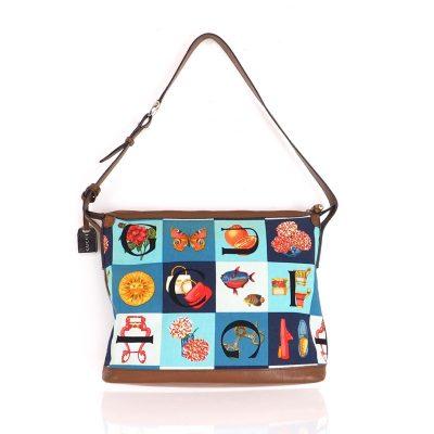 Vintage Gucci Scarf Print Multi Color Shoulder Hand Bag