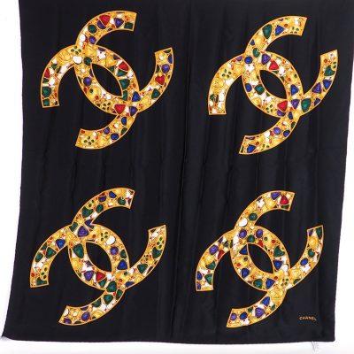 Vintage Chanel Excellent Large CC Logo Bijoux  Scarf