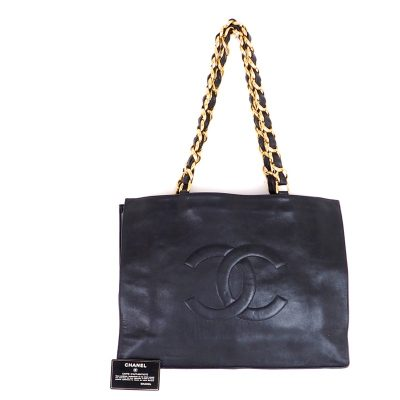 Vintage Chanel Large Chain Tote CC Black Leather Hand Bag