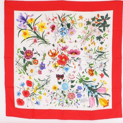 Vintage Gucci Floral Flower Insects Print Pristine  Scarf