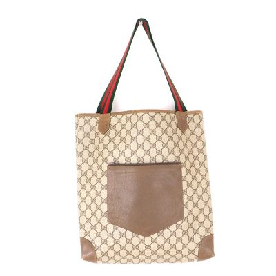 Vintage Gucci GG Canvas Ribbon Tote Hand Bag
