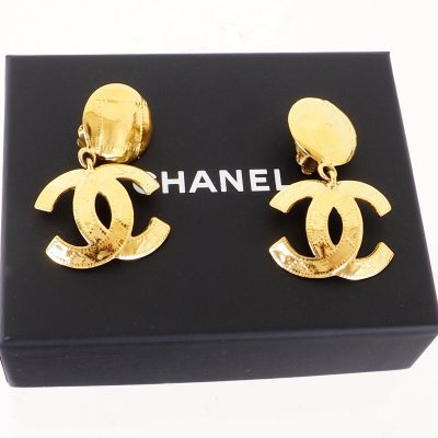 Vintage Chanel Dangle Large CC Quilted Gold  Earrings