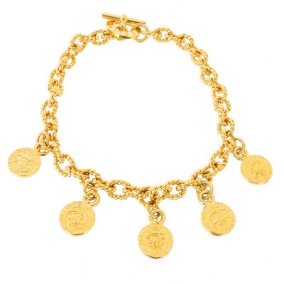 Vintage Celine Medallion Coin Charm Chunky Chain Choker Necklace
