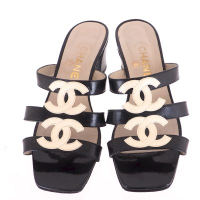 Vintage Chanel Four CC Logo Patent Leather Sandals  Shoes
