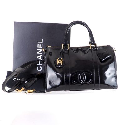 Vintage Chanel M Patent Leather Speedy Full Set Hand Bag