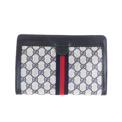 Vintage Gucci Monogram Blue MM  Clutch Bag