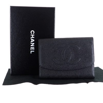 Vintage Chanel Black Caviar Skin Tri Fold Large Clutch Wallet