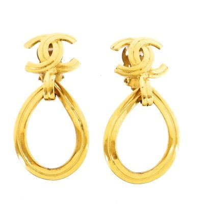 Vintage Chanel 96P Tear Drop Dangle Large Gold  Earrings